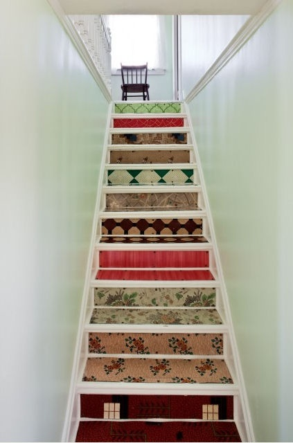 Adorable stairsDecor, Ideas, Stairs Risers, Small Room, Basements Stairs, House, Staircas, Stairways, Design