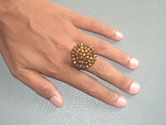 BEADED  crochet RING in SPARKLY old gold glass.  $8.90 USD