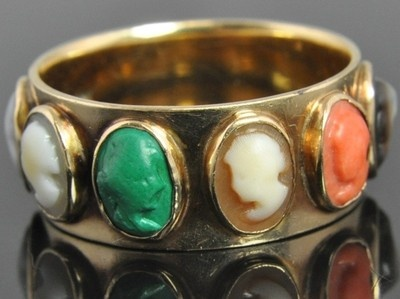 Gold Nouveau Multi Gemstone Shell Cameo Band Ring