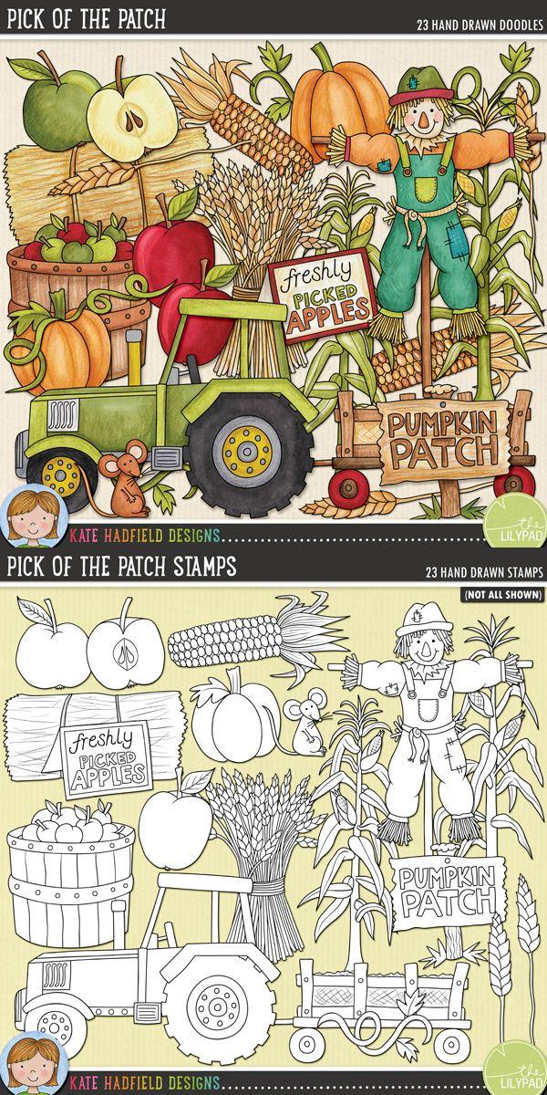 Pumpkin Patch digital scrapbooking elements | Cute autumn / fall clip art | Hand-drawn illustrations for digital scrapbooking, crafting and teaching resources from Kate Hadfield Designs!