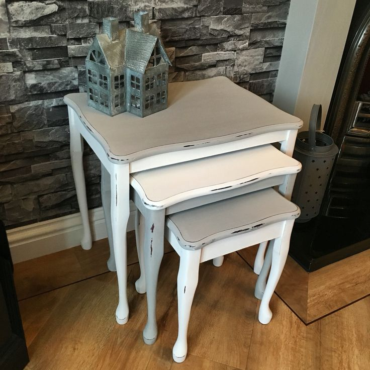 Shabby nest of tables in Everlong Earl Grey and Porcelain