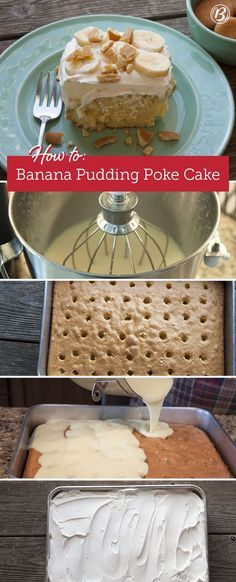 Savor the flavors of banana cream pie in this crowd-sized poke cake, made with Betty Crocker SuperMoist yellow cake mix, banana pudding and whipped topping.
