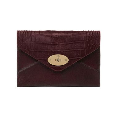 Mulberry Gift Kaleidoscope | Oxblood - Willow Clutch in Oxblood Mixed Exotic