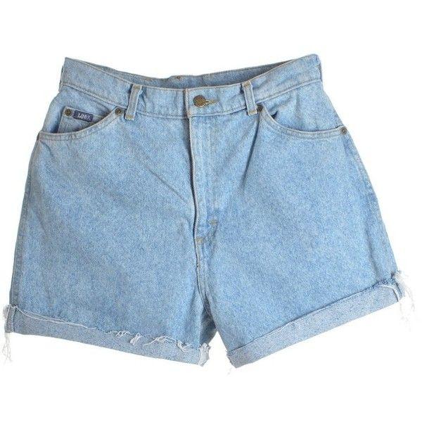 Roll Hem Denim Shorts ($67) ❤ liked on Polyvore featuring shorts, pocket shorts, jean shorts, short jean shorts, roll up shorts and rolled shorts