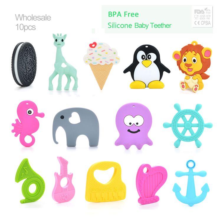 10 stks/partij Siliconen Bijtring Giraf Tandjes Hanger Biscuit Baby Bijtring Penguin Silicone Tandjes Ketting Chew Speelgoed Voor Baby