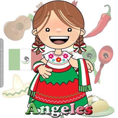 BANCO DE IMAGENES: 100 postales de muñequitas mexicanas con nombres de mujeres, adolescentes y niñas para las fiestas patrias de septiembre en México