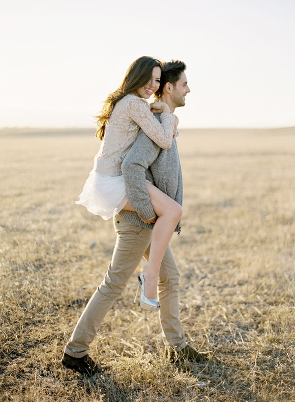 Love the soft/ light feel of their clothing together...a light feminine top with jeans could also give this feel. Becky and Mark Engagement « Jose Villa | Fine Art Weddings