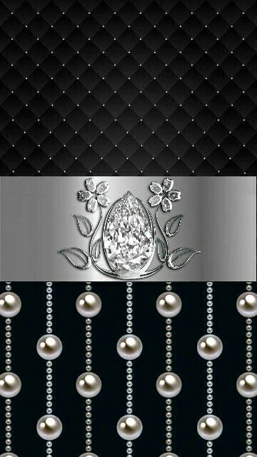 The Black Pearl Wallpaper Black And White Silver Pearls And Diamonds Bling Black