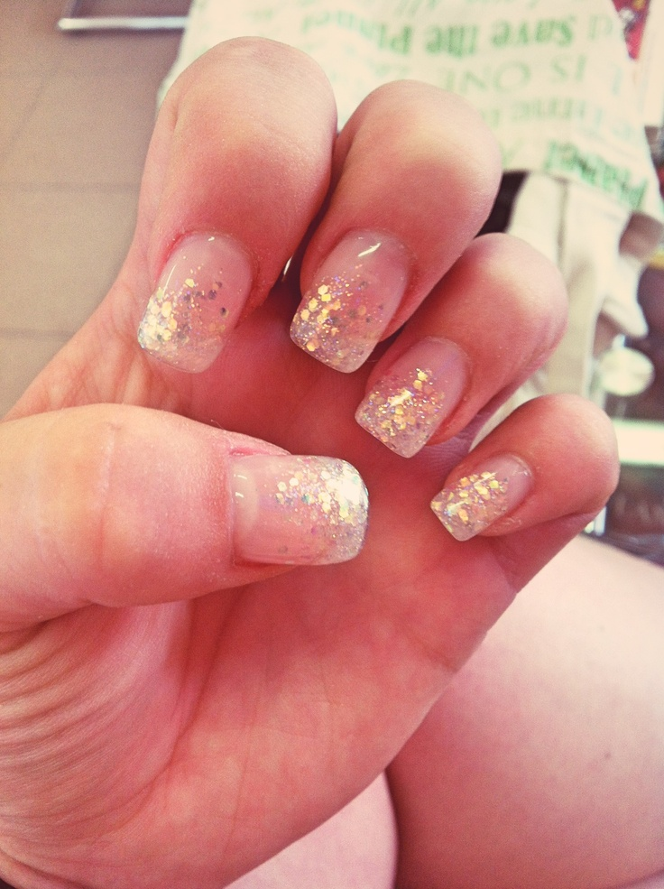 Gel Nails French Tip Glitter Papillon Day Spa