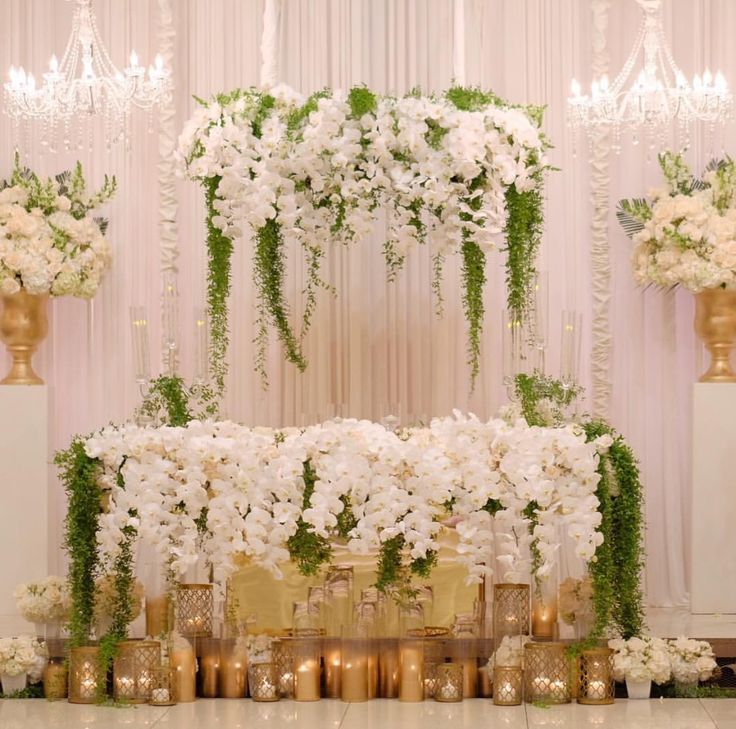 Hotel Wedding Decor Reception Flower Backdrop Sweetheart Table Couples White Weddings Head Tables Wisteria