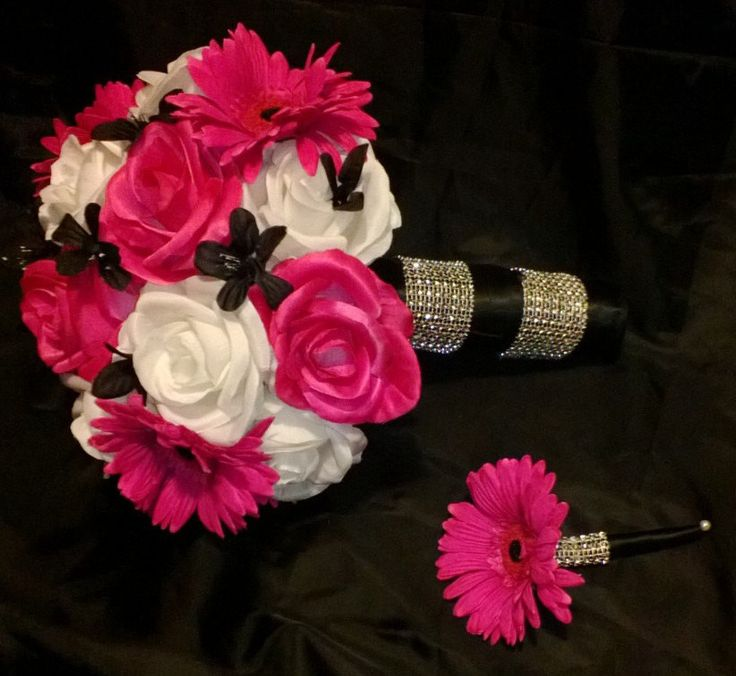 This listing is made to order and Includes 2 Pieces 1 10in Round Rose & Daisy Bouquet with Hot Pink & White Roses and Hot Pink Daisies with 1 Hot Pink Daisy Matching Boutonniere. Choose your ribbon co