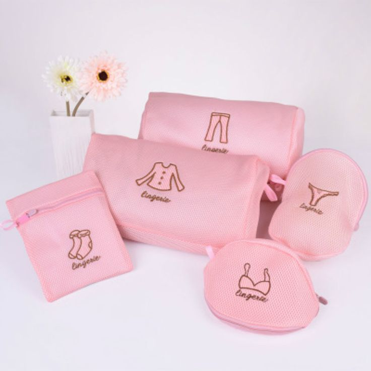 Doreen Box Pink Zipper Nylon Mesh Clothes Washing Launry Bra Lingerie Washing Bag Protecting Laundry Bags Wash Bag Pouch Basket
