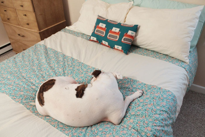 homemade Duvet cover and throw pillow