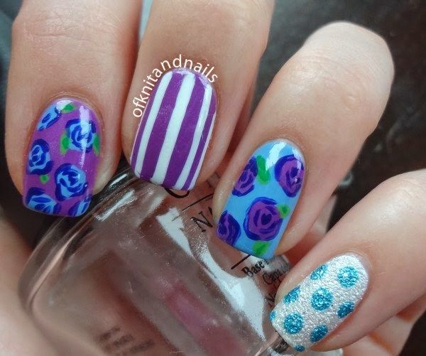 beautiful flower nail art design 2015
