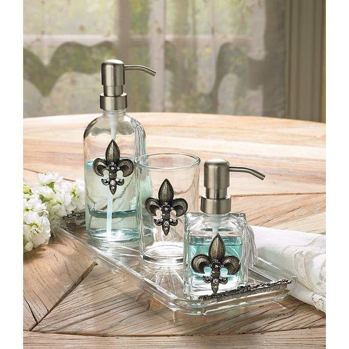 3-Piece Silver Fleur de Lis Bathroom Accessory Set - #U7925 | Lamps Plus