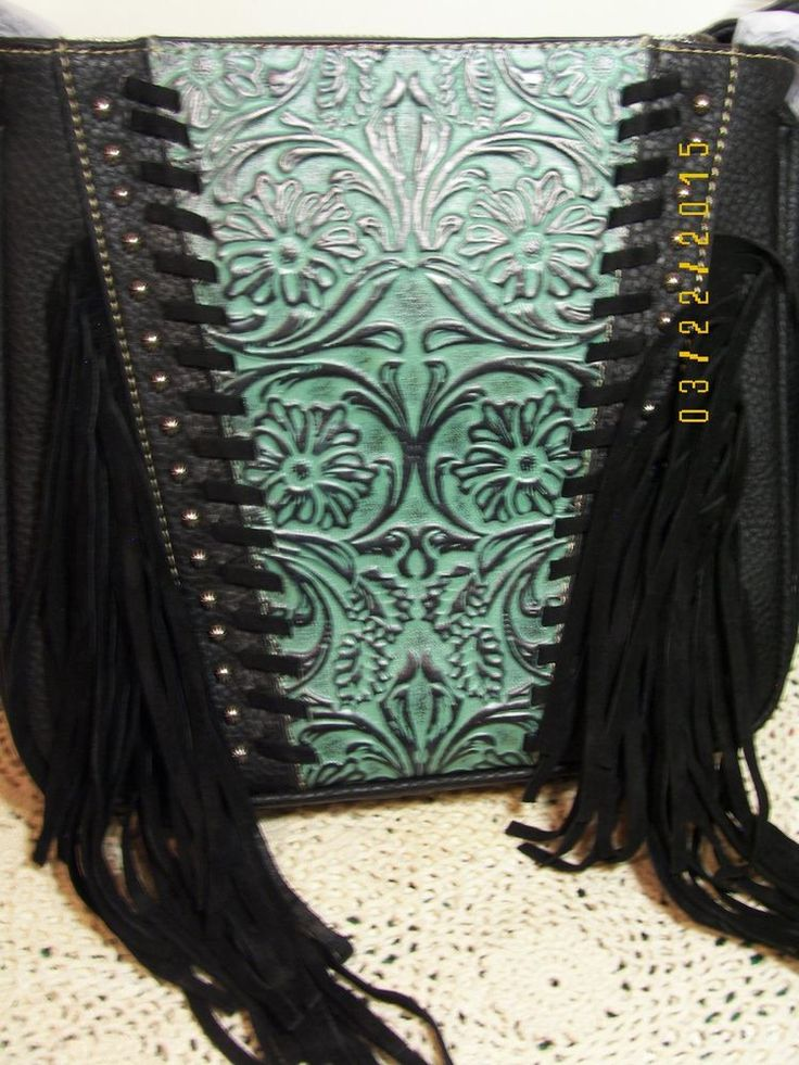New Montana West concealed carry crossbody bag black and turqoise with fringe #MontanaWest #MessengerCrossBody