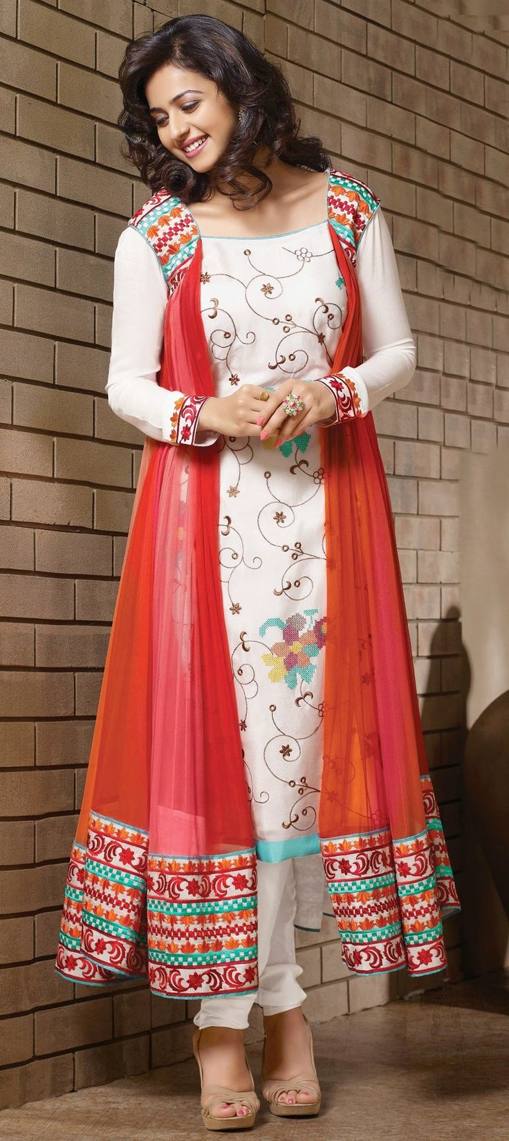 410774: Red and Maroon,White and Off White color family stitched Bollywood Salwar Kameez .