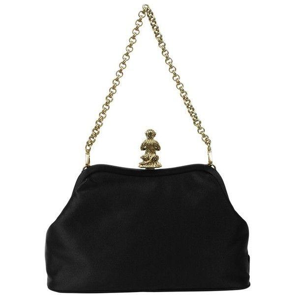 PRADA Satin 1930s Monkey Bag ($765) ❤ liked on Polyvore featuring bags, handbags, purses, prada bags, chain strap handbags, chain shoulder bag, monkey bag and prada purses