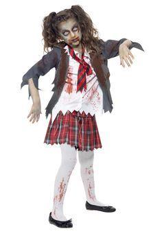 zombie costume ideas for kids | Kids Zombie School Girl Costume