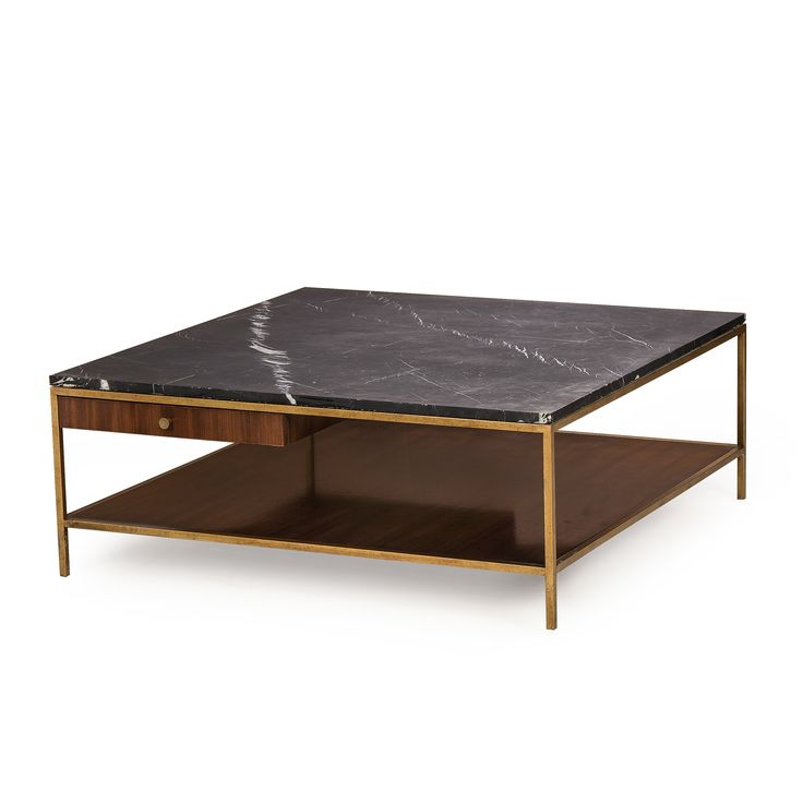 Living Room | Copeland Collection |  Copeland Square Coffee Table | This Mid-Century inspired Coffee Table features a satin brass finished metal base, quartered walnut veneers and a honed black marble top highlighted with white veining.
