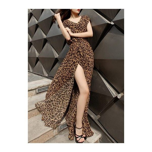 Leopard Print V Neck High Slit Maxi Dress ($39) ❤ liked on Polyvore featuring dresses, leopard, v neck dress, brown maxi dress, v-neck dresses, leopard maxi dress and chiffon maxi dress