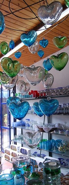 blue and green heart shaped hand blown glass .  Mexico