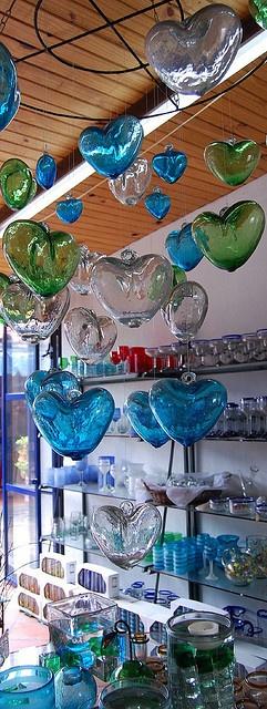 hand blown glass hearts