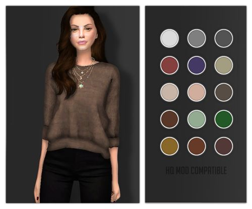 Rachel Cuffed Sweater for The Sims 4