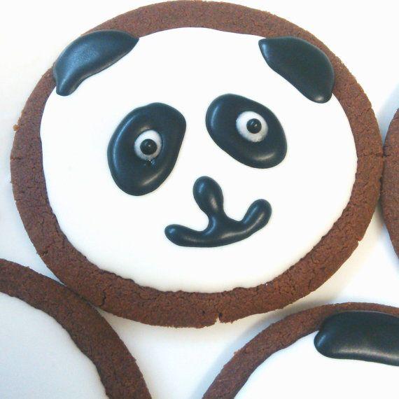 The cutest Panda Cookies - 12 sugar or gingerbread cookies. Handmade, Hand decorated.