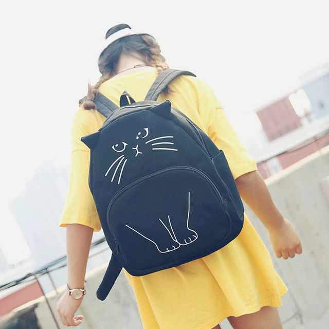 Cartoon Cat Backpack Animal Prints School Bags for Teenagers Girls Women Backpack for School Teenagers Girls Cute Book Bags