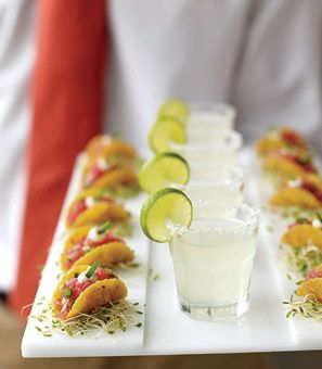 Mini tuna tacos paired with margarita shooters.    Brides Magazine: Wedding Color Schemes: Pink and Orange    i would just not use tuna tho. chicken or beef.
