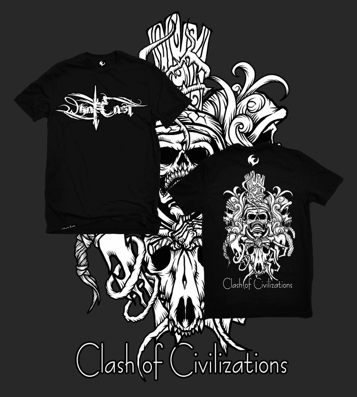 WHAT EAST Version | CLASH OF CIVILIZATION | Local made, the international quality | Original Art Design by What East artist team | Materials made of Cotton Combat, Woven Label and Plastisol Ink | Black Color | Available size M, L & XL | IDR 130.000,00 normal | Contact Person: Awank +62857 6158 3993