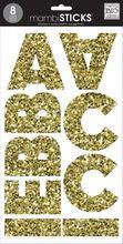mambiSTICKS™ Mia Block San Serif Alphabet Stickers, Chunky Gold Glitter