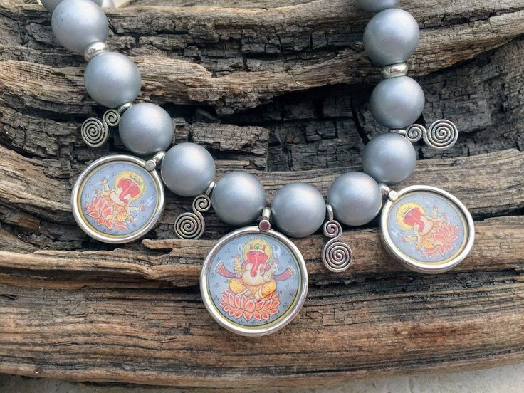 Large Ganesha Necklace, Chunky Grey Pearl Shell Necklace, Hindu Deity Painting Sterling Silver Necklace, Big Bead Statement Necklace