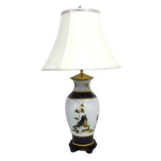 Black Band Secret Garden Birds Porcelain Lamp   Overstock.com Shopping - Great Deals on Table Lamps