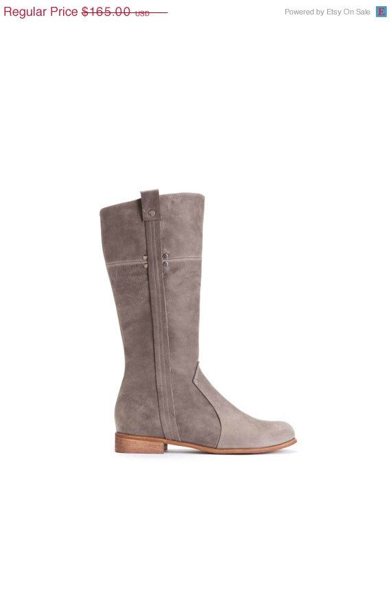 SALE SALE 50% Off  Grey Riding Boots   Women's by OliveThomasShoes