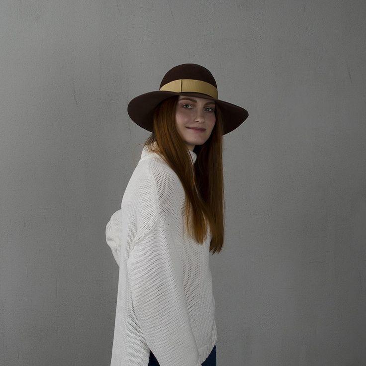 Ginger brown wide-brim floppy hat / Широкополая шляпа флоппи рыже-коричневого цвета fotralehats.com фото photo hats lookbook