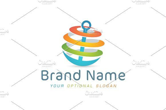 For sale. Only $29 - colorful, anchor, globe, global, solution, rope, abstract, travel, world, planet, spiral, ship, shipping, freight, transport, business, stability, harbor, sailor, ocean, sea, logo, design, template,