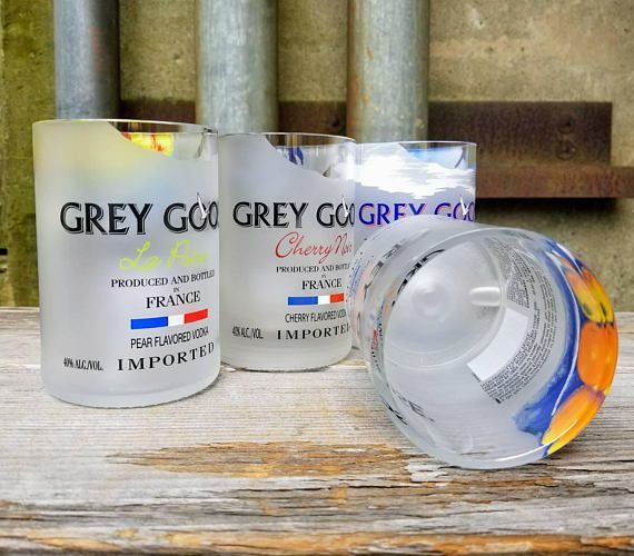 Grey Goose Vodka Gift Set  Four Unique Drinking Glasses From