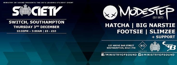 SOTONIGHT   Ministry of Sound: Society w/ Modestep, Hatcha, Big Narstie @ Switch Southampton   December 2015 - http://www.sotonight.net/event-tickets/ministry-of-sound-society-w-modestep-hatcha-big-narstie-switch-southampton-december-2015/  Society is the UK's leading student event, bringing the biggest names in bass and house music to the best venues all over the country. Presented by the world famous Ministry of Sound, its reputation as one of the best parties in the co