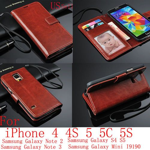 Genuine Real Leather Flip Wallet Case Cover For iPhone Samsung Galaxy #Samsung