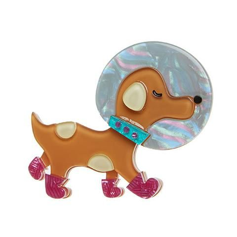 "Erstwilder Limited Edition Apollo K9 Brooch. ""That's one small step for man. One giant game of fetch for canine-kind. Godspeed to you little Laika."""