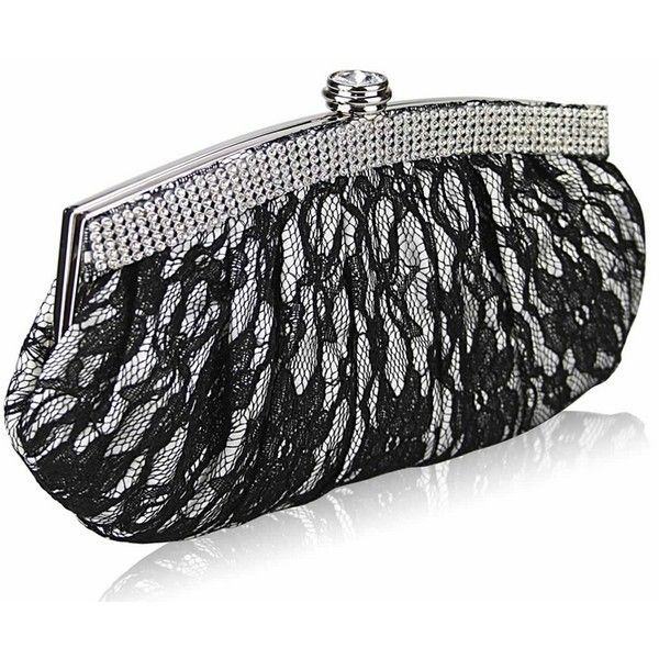 Silver Black Lace Clutch Bag (832) ($21) ❤ liked on Polyvore featuring bags, handbags, clutches, black and silver handbags, clasp purse, pocket purse, lace handbags and lace purse