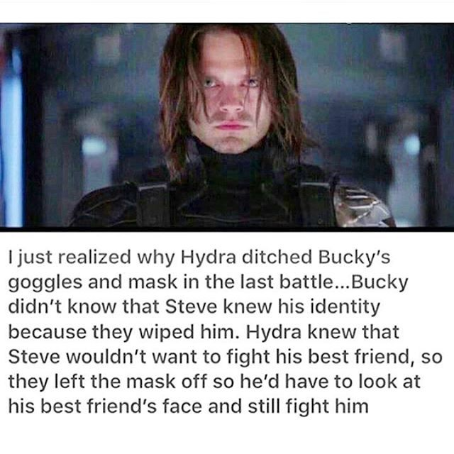 Why HYDRA left Bucky's mask off at the end of WS. I hate every single one of you.