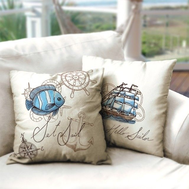 Urban Threads Nauticus embroidered pillows. Easily DIY your own chic Nautical decor!