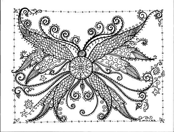 butterfly doodle coloring colouring printable adult advanced detailed Instant download Coloring pages Buttefly by ChubbyMermaid on Etsy
