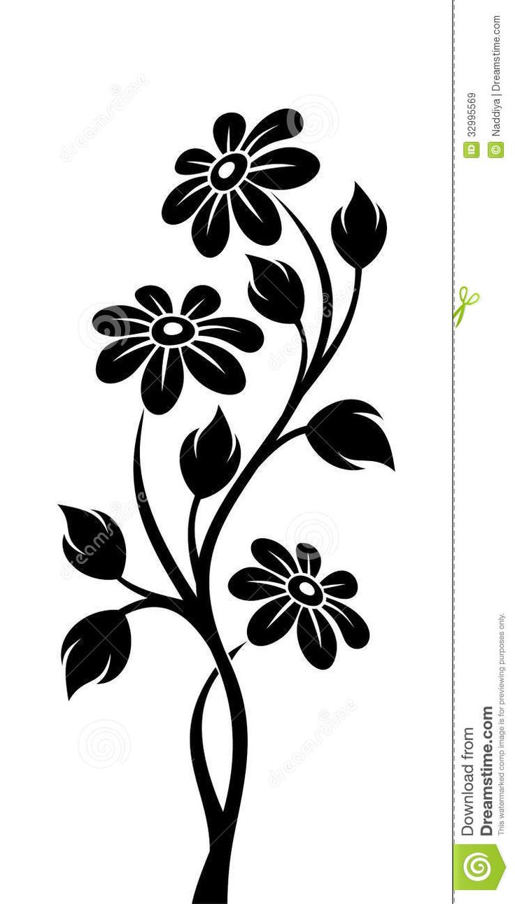 Black Silhouette Of Branch With Flowers - Download From Over 28 Million High…