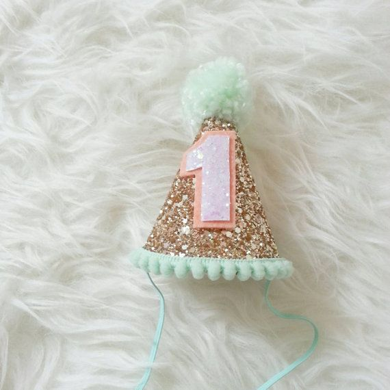 READY To SHIP Glittery Mini Party hat headband, mint and peach, mint party hat, birthday girl, photo prop, cakesmash, first birthday