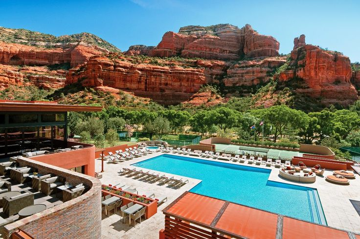 Pool with a view - Enchantment Resort, Sedona, Arizona.  Read our feature at http://www.thechictravelclub.com/holy-red-rock-sedona-is-calling-you-loud-and-clear/