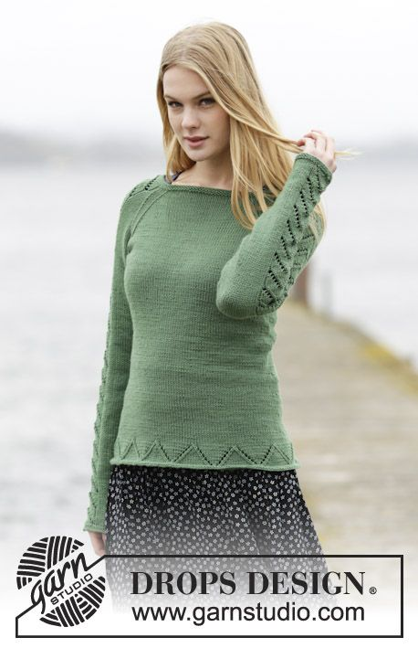 "Knitted DROPS jumper with raglan and lace pattern in ""Cotton Merino"". Size: S - XXXL. ~ DROPS Design"